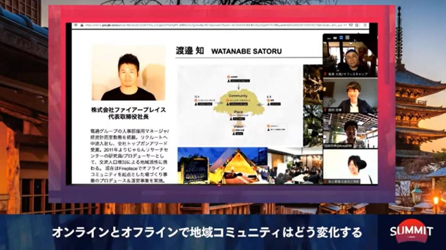 渡邉 知(Satoru Watanabe)氏 株式会社ファイアープレイス 代表取締役社長 / 電通グループの人事部採用マネージャ/経営計画室勤務を経験。リクルートへ中途入社し、全社トップガンアワード受賞。2011年よりじゃらんリサーチセンターの研究員/プロデューサーとして、交流人口増加による地域活性に携わる。 現在はFireplaceで「つながりを創出し、共感と共働の総量を増やす」事業に挑戦中。