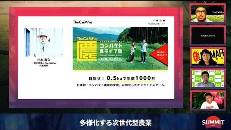 井本 喜久(Yoshihisa Imoto)氏 一般社団法人 The CAMPus 代表理事 / 東京農大を卒業するも広告業界へ。26歳で起業、2017年「世界を農でオモシロくする」をテーマにインターネット農学校 The CAMPusを開校。全国約60名の凄腕農家の教授と、農的暮らしのオモシロさを有料ウェブマガジンで配信。農学校に集まった「農」の知恵を活かし、全国の様々な地域で限界集落や耕作放棄地を再生するプロジェクトをプロデュース中。