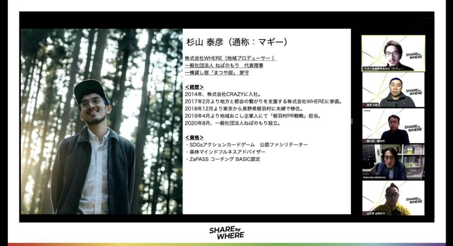 写真右上> 杉山 泰彦(Sugiyama Yasuhiko)氏 株式会社WHERE根羽村支社、一般社団法人ねばのもり代表理事 / 株主会社WHEREにて、地域PR・移住定住サポート事業で20地域の案件を担当。現在は地域おこし企業人の制度を使い、長野県根羽村でPR担当を担い関係人口の創出を手掛ける。2020年8月に一般社団法人ねばのもりを設立し、森林や山村をフィールドに学びの事業を提供している。