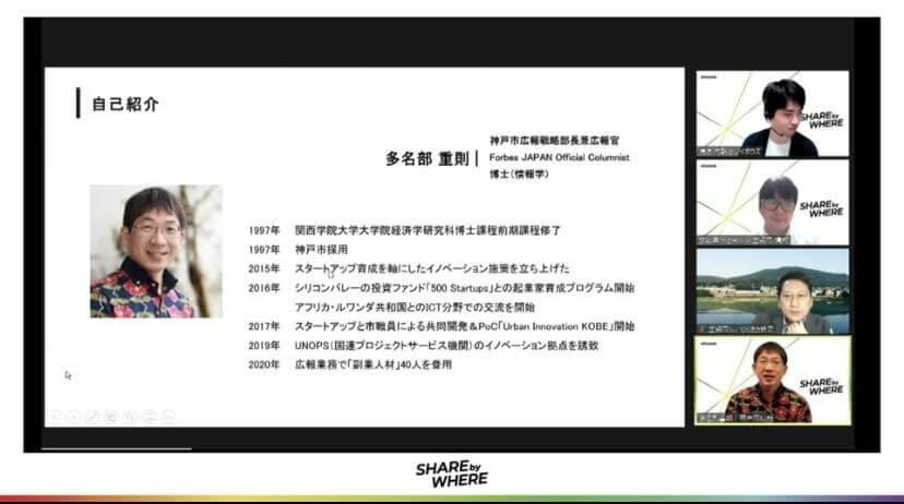 写真右下> 多名部 重則(Shigenori Tanabe) 神戸市広報戦略部長兼広報官 / 1997年神戸市採用。 2015年にスタートアップ育成を軸にしたイノベーション施策を立ち上げる。米国シリコンバレーの世界的に著名なシード投資ファンド「500 Startups」をパートナーに迎えたスタートアップ育成プログラムの開催、国内初のスタートアップと行政が共同開発を進めるプロジェクト「Urban Innovation JAPAN」、さらにUNOPS(国連プロジェクトサービス機関)のアジア初イノベーション拠点の神戸誘致をリードした。2016年からアフリカ・ルワンダ共和国とのICT分野を中心とした連携・交流事業も企画・推進している。